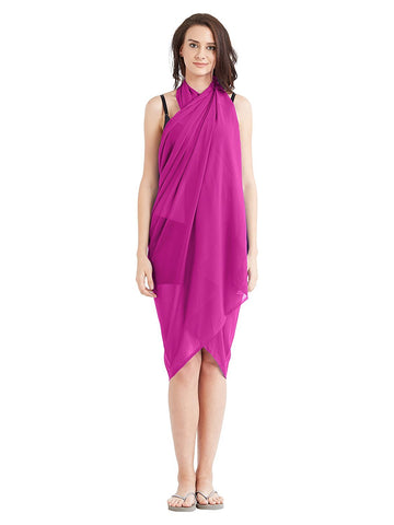 Pink Color Georgette Unstitched Women SwimDress - SARONG06