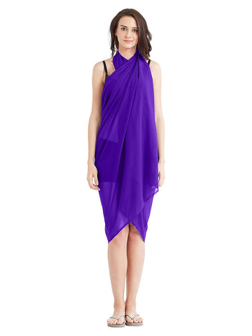 Purple Color Georgette Unstitched Women SwimDress - SARONG07