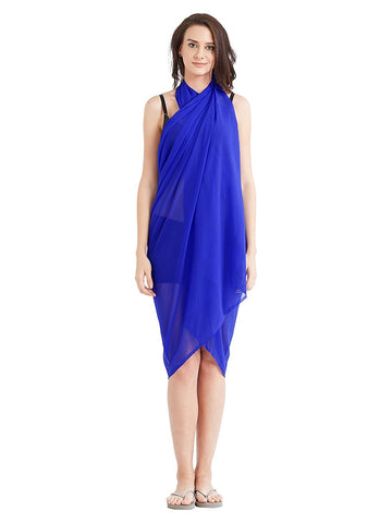 RoyalBlue Color Georgette Unstitched Women SwimDress - SARONG08