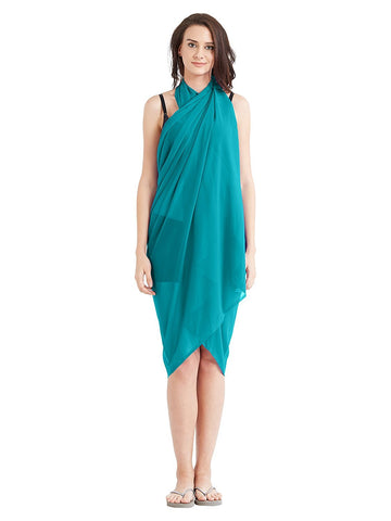 SkyBlue Color Georgette Unstitched Women SwimDress - SARONG09