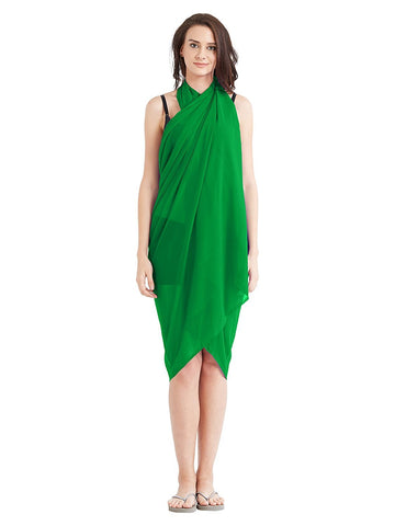 Tree Green Color Georgette Unstitched Women SwimDress - SARONG10