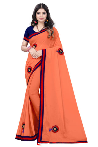 Peach Color Chiffon Designer Saree - SASHI-ZI-04