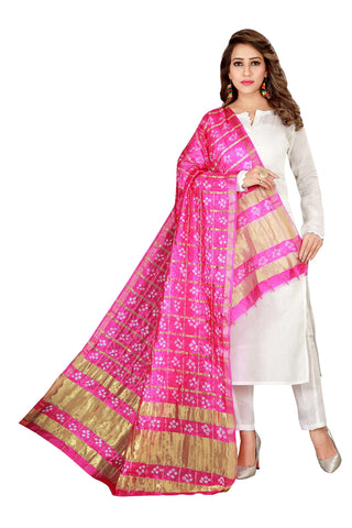 Pink Color Silk Checks Dupatta  - SBCDAPINK