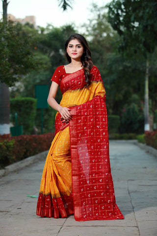 Yellow Color Cotton Saree - SBGCARYELLOW