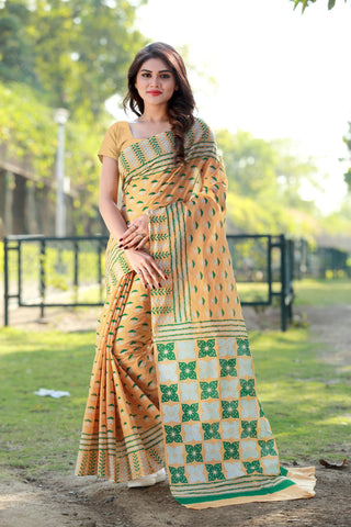 Multi Color Satin Cotton Saree - SBHV2AYELLOW