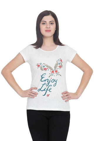 White Color Cotton T-Shirt  - SBOF-5239White
