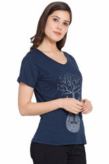 Navy blue Color Cotton T-Shirt  - SBOF-5240Navy