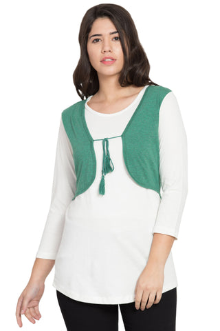 Green Color Cotton Stitched Top  - SBOF-5243GreenWht