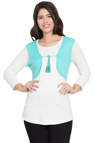 Light blue Color Cotton Stitched Top  - SBOF-5243TurqWht
