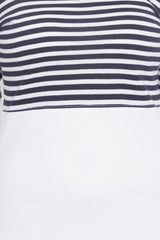 Navy White Color Cotton T-Shirt  - SBOF-5246NavyWht