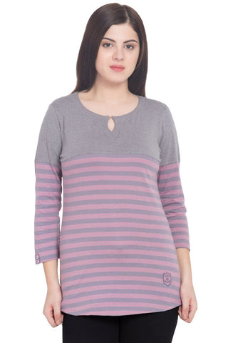 Purple Color Cotton T-Shirt  - SBOF-5248GreyPrpl