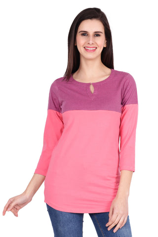 Pink Color Cotton T-Shirt  - SBOF-5248Pink