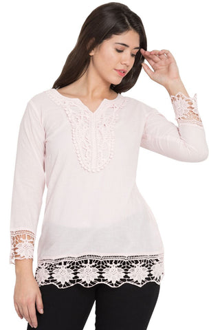 Beige Color Cotton Stitched Top  - SBOF-5250Peach