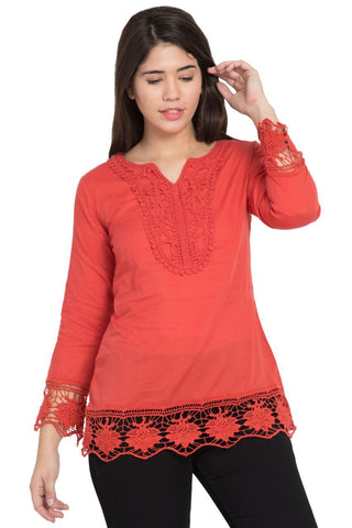 Red Color Cotton Stitched Top  - SBOF-5250Red