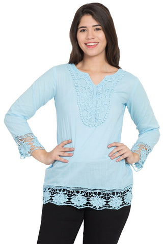 Light blue Color Cotton Stitched Top  - SBOF-5250Turq