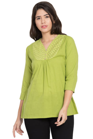 Green Color Cotton Stitched Top  - SBOF-5251Green