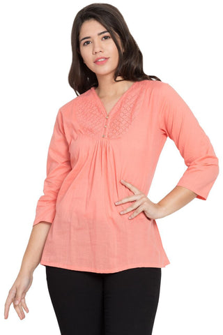 Pink Color Cotton Stitched Top  - SBOF-5251Peach