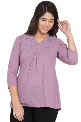 Purple Color Cotton Stitched Top  - SBOF-5251Purple