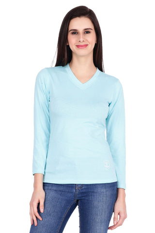 Light blue Color Cotton T-Shirt  - SBOF-5252Turq