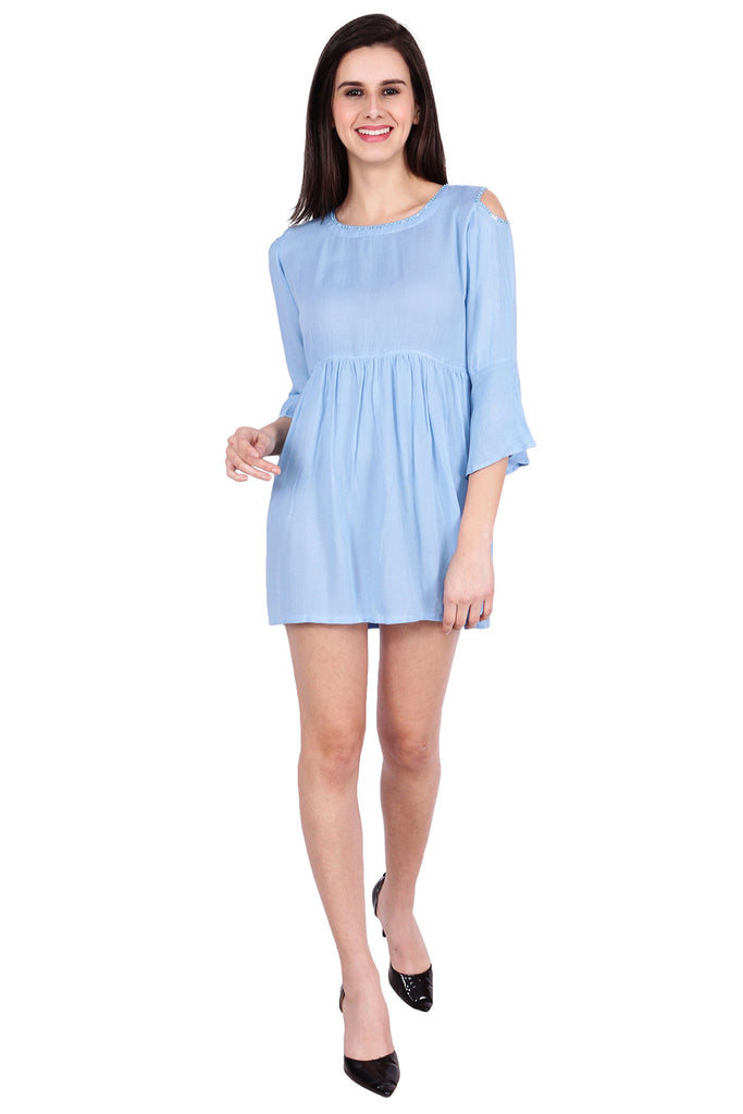 Buy Blue Color Rayon Stitched Dress