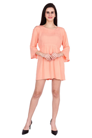 Orange Color Rayon Stitched Dress  - SBOF-5254-Peach