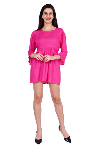Pink Color Rayon Stitched Dress  - SBOF-5254-Pink