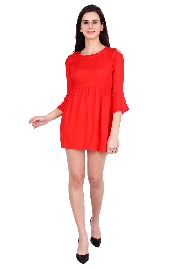 Buy Red Color Rayon Stitched Dress