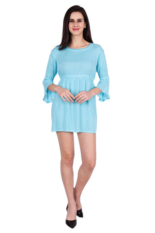 Teal blue Color Rayon Stitched Dress  - SBOF-5254-Turq