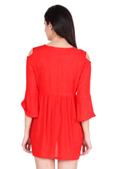 Red Color Rayon Stitched Dress  - SBOF-5254-Red