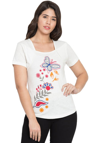 White Color Cotton T-Shirt  - SBOF-5255White