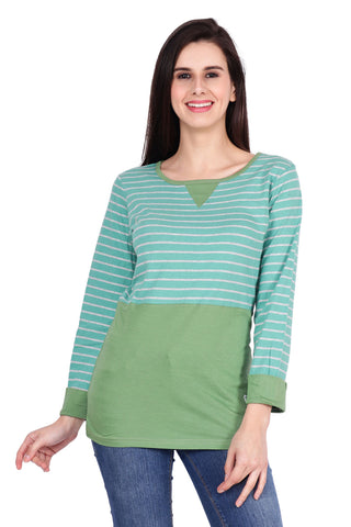 Green Color Cotton T-Shirt  - SBOF-5259Green