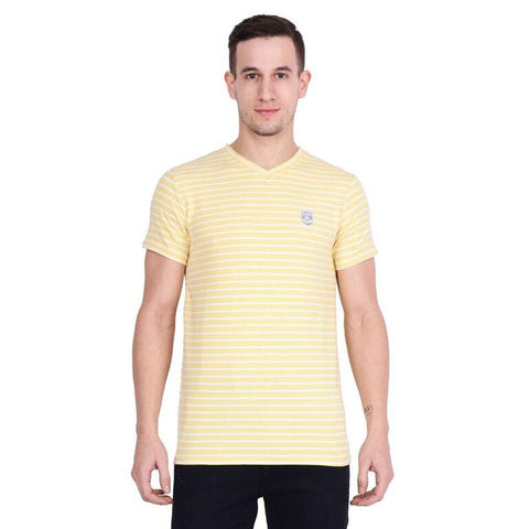 Future Ventures Yellow Color Cotton Men's T-Shirt  - SBOF-5261Yellow