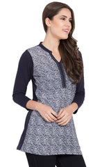 Navy blue Color Cotton Tops  - SBOF-5262Navy