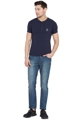 Navy Color Cotton Men's T-Shirt  - SBOF-5265Navy