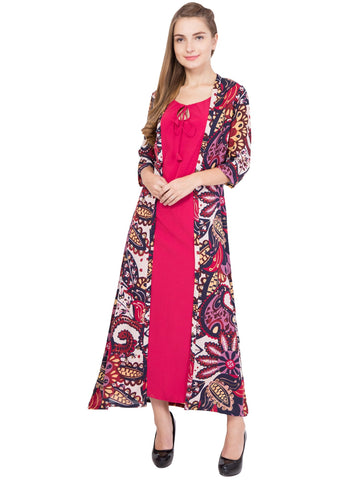 Pink Color PolyGeorgette and PolyCrepe ReadyMade Dress  - SC-DRESS-1705
