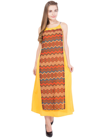 Yellow Color Crepe ReadyMade Dress  - SC-DRESS-1706