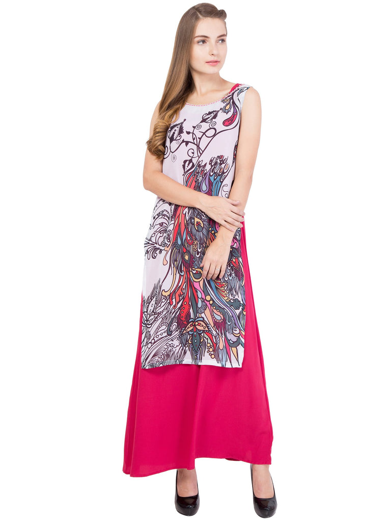 Pink Color Crepe and Georgette ReadyMade Dress