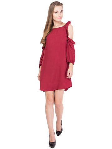Maroon Color Crepe ReadyMade Dress  - SC-DRESS-1718