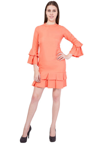 Coral Color Crepe ReadyMade Dress  - SC-DRESS-56