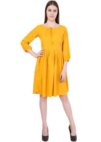 Musturd Color Crepe ReadyMade Dress  - SC-DRESS-57