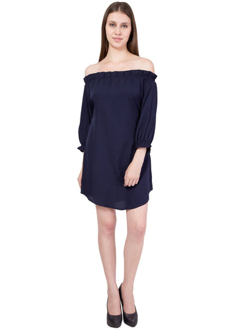 Navy Color Crepe ReadyMade Dress  - SC-DRESS-58