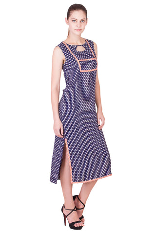 Navy Color Rayon ReadyMade Dress  - SC-DRESS18