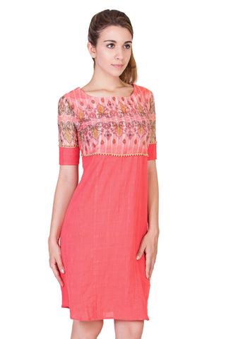 Coral Color Dobby Cotton Mix Printed Net ReadyMade Dress  - SC-DRESS19