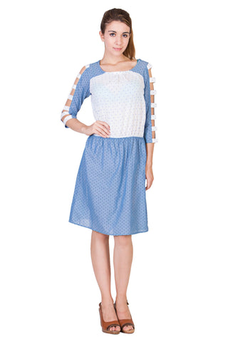 Blue and White Color Dobby Cotton ReadyMade Dress  - SC-DRESS20