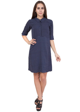 Navy Color Crepe ReadyMade Dress  - SC-DRS-1725