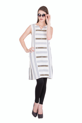 OffWhite Color Cotton Linen Stitched Kurti - SC-KRT-1701