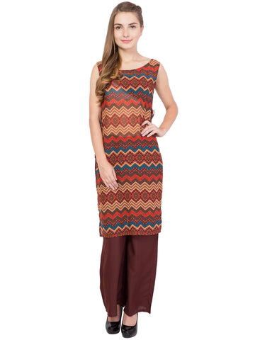 Brown Color PolyGeorgette Stitched Kurti - SC-KRT-1704