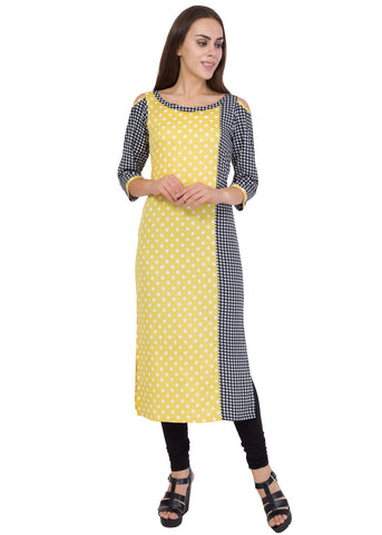 Yellow Mix Black Color Printed Both Fabric Stitched Kurti - SC-KRT-1719