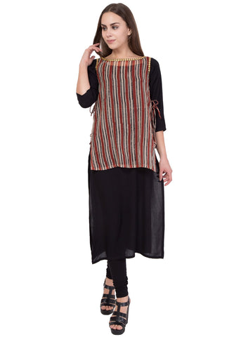 Brown Mix Black Color Cotton Gauge Stitched Kurti - SC-KRT-1720