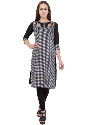 Black Color Crepe Stitched Kurti - SC-KRT-1721